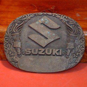 A M Suzuki Solid Brass Belt Buckle